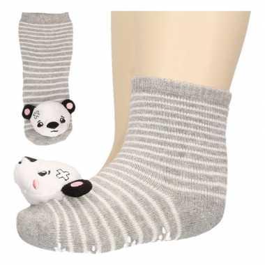 Baby huissokjes slofsokjes grijs pandabeertje
