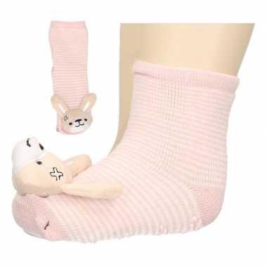 Baby huissokjes slofsokjes roze konijntje