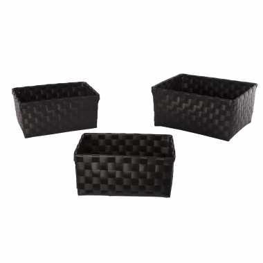 Badkamer/toilet/hobby opberg mandjes zwart set stuks