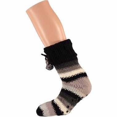 Beige/zwarte dames huissokken gekleurde strepen