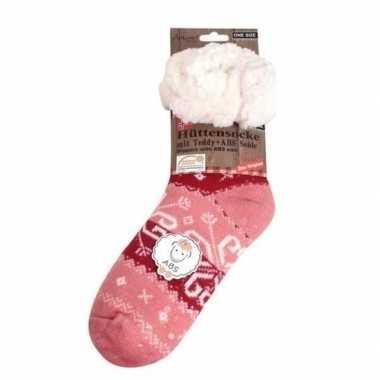 Dames anti slip huissokken/slofsokken roze barok mt