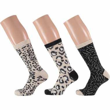 Dames fashion sokken pak luipaard beige/zwart maat