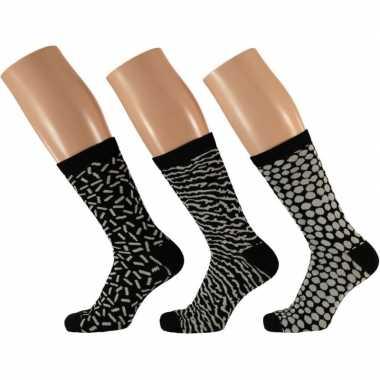 Dames fashion sokken pak zwart/wit maat type