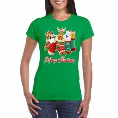 Foute kerst t shirt kerstsokken merry christmas groen dames