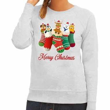 Foute kersttrui kerstsokken merry christmas grijs dames