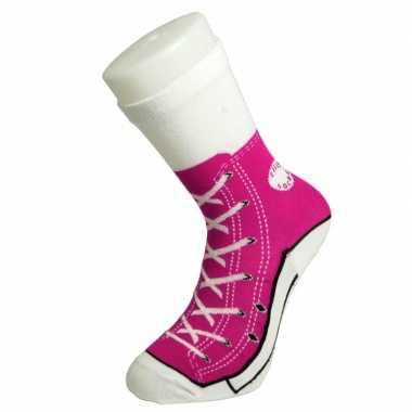 Foute sokken fuchsia roze sneaker dames maat ,