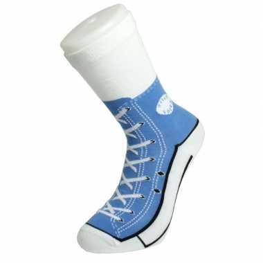 Foute sokken lichtblauwe sneaker volwassenen maat