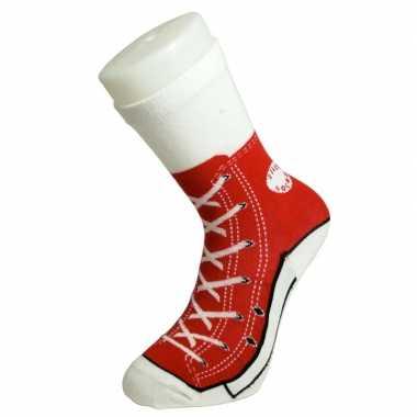 Foute sokken rode sneaker volwassenen maat