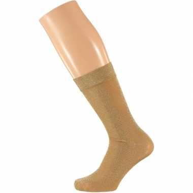 Gouden dames party glitter sokken lurex maat