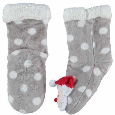 Grijze warm gevoerde kerstman kerst huissokken kinderen