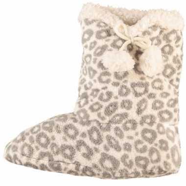 Hoge dames slof sokken luipaard grijs