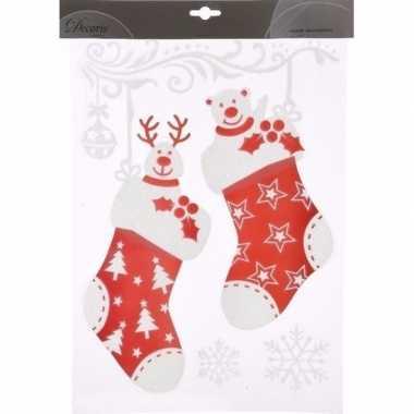 Kerst decoratie raamstickers sokken stuks type 10092570