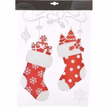 Kerst decoratie raamstickers sokken stuks type