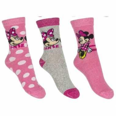 Minnie mouse meisjes sokken pak lichtroze