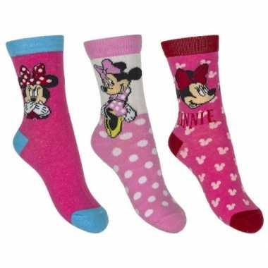Minnie mouse meisjes sokken pak roze