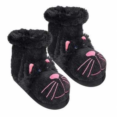 Pantoffel sokken zwarte kat