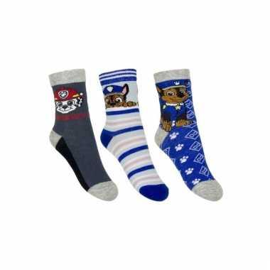 Paw patrol jongens sokken pak blauw/grijs