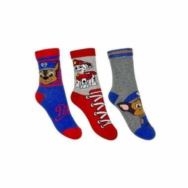Paw patrol jongens sokken pak rood/blauw