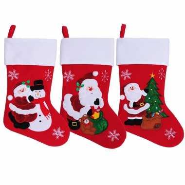 Rode kerstsokken kerstman cadeauzak