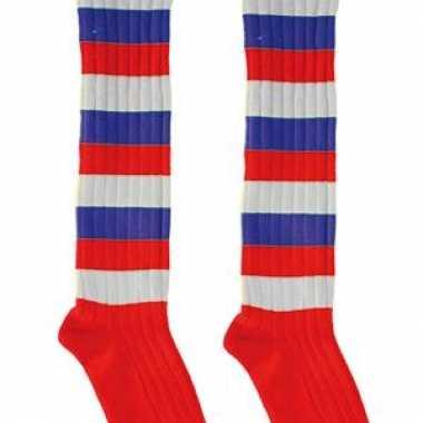 Rood/Wit/Blauwe lange feest sokken