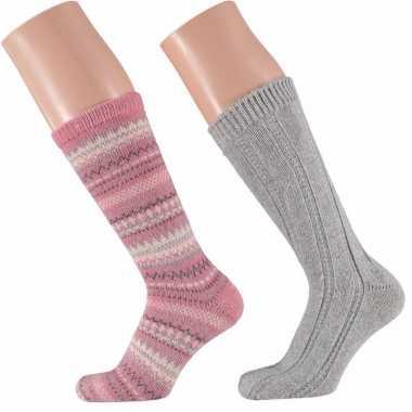 Roze/grijze dames huissokken paar