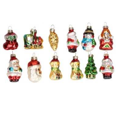 Set stuks kersthangers figuurtjes glas