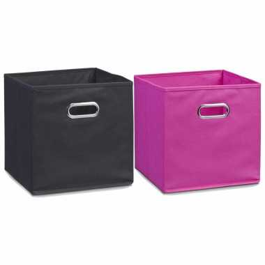Set stuks opbergmanden/kastmanden zwart roze