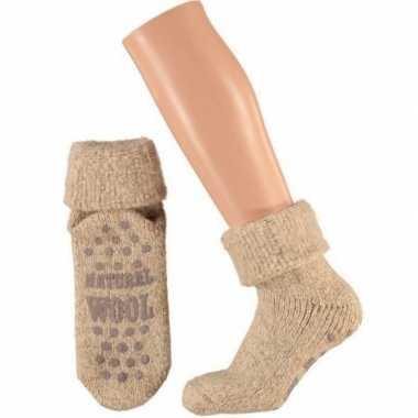 Wollen huis sokken anti slip kinderen beige maat
