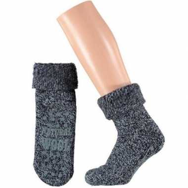 Wollen huis sokken anti slip kinderen navy maat