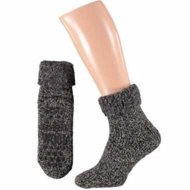 Wollen huis sokken anti slip kinderen zwart maat