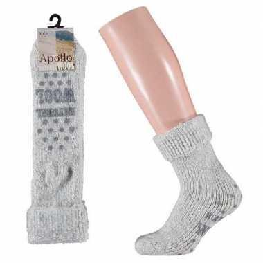 Wollen huis sokken anti slip meisjes grijs maat