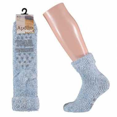 Wollen huis sokken anti slip meisjes lichtblauw maat