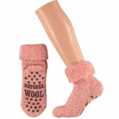 Wollen huis sokken anti slip meisjes roze maat