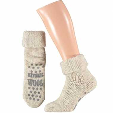 Wollen huis sokken mannen wit mt