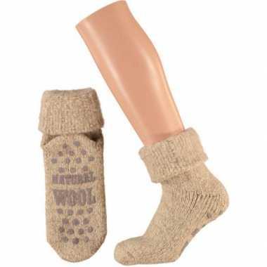 Wollen huis sokken voor dames beige