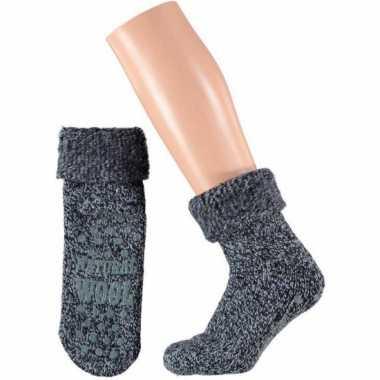 Wollen huis sokken voor dames navy
