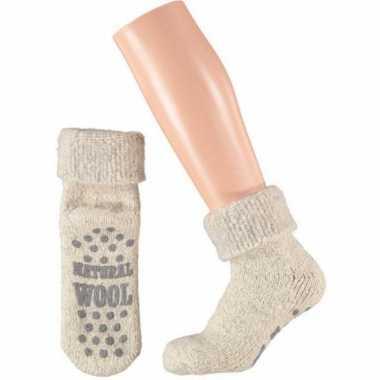 Wollen huis sokken voor dames wit