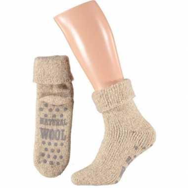 Wollen huis sokken voor mannen beige