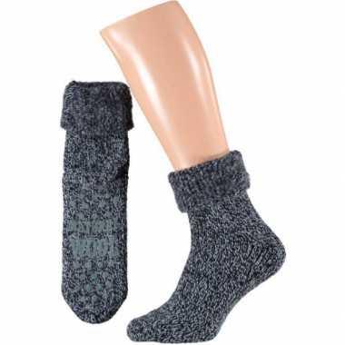 Wollen huis sokken voor mannen navy