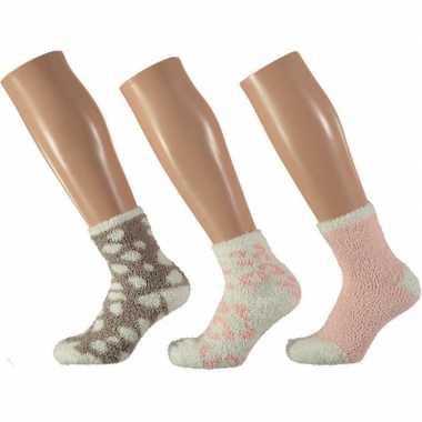 X dames huissokken/slofsokken panter roze/wit maat