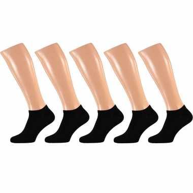 X paar zwarte heren sneakersokken/enkelsokken maat