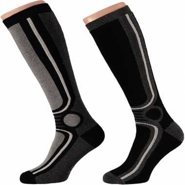 X paar zwarte thermo skisokken heren