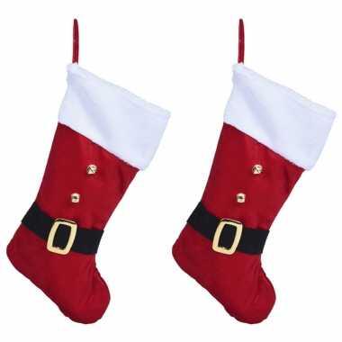 X rode fluwelen look kerstsokken kerstmannen riem