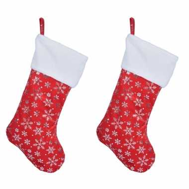 X rode kerstsokken sneeuwvlokken opdruk