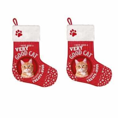 X stuks dieren kerstsokken katten/poezen