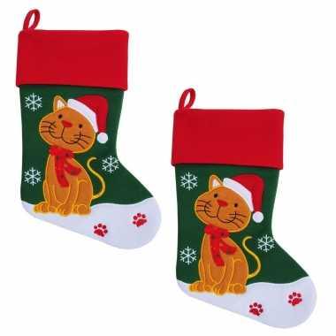 X stuks kerstsok kat /poes huisdier kerstsokken
