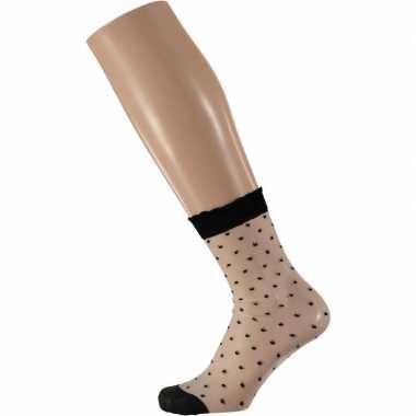 X stuks panty sokken zwart stipjes dames