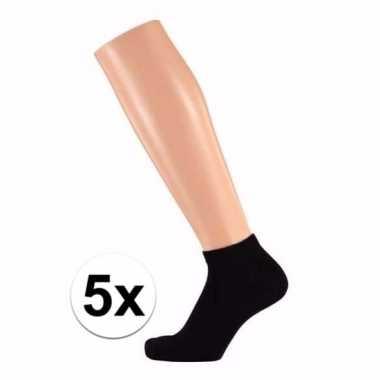 Zwarte dames sneakersokken/enkelsokken maat