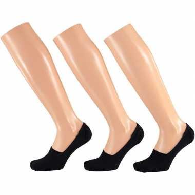 Zwarte sneaker sokken siliconen hiel dames pak