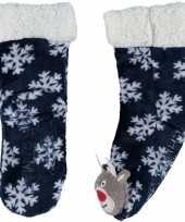 Blauwe warm gevoerde rendier kerst huissokken kinderen
